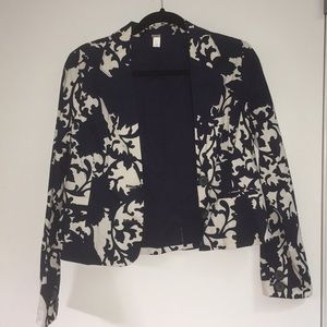 Old Navy blue and white floral suit jacket blazer